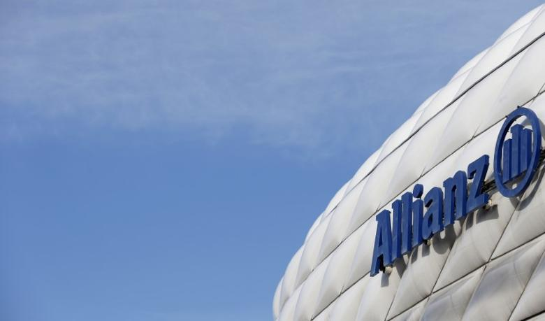 The logo of Europe's biggest insurer Allianz SE is pictured at the Allianz Arena soccer stadium in Munich February 26, 2014. Allianz will hold their company's annual news conference on February 27, 2014. REUTERS/Michaela Rehle