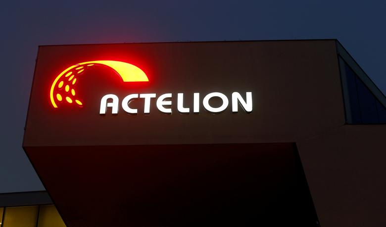 The company's logo is seen at the headquarters of Swiss biotech company Actelion in Allschwil, Switzerland December 6, 2016.    REUTERS/Arnd Wiegmann/File Photo