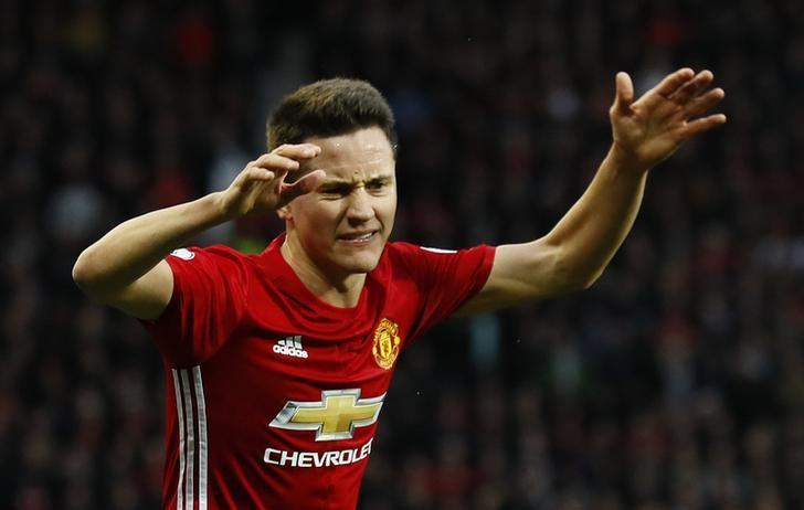 Football Soccer Britain - Manchester United v Tottenham Hotspur - Premier League - Old Trafford - 11/12/16 Manchester United's Ander Herrera reacts   Action Images via Reuters / Jason Cairnduff Livepic