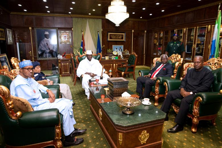 Gambian President  Yahya Jammeh meets with with the West Africa head of delegation during the election crisis mediation at the presidential palace Banjul, Gambia December 13, 2016 REUTERS/Stringer/File Photo