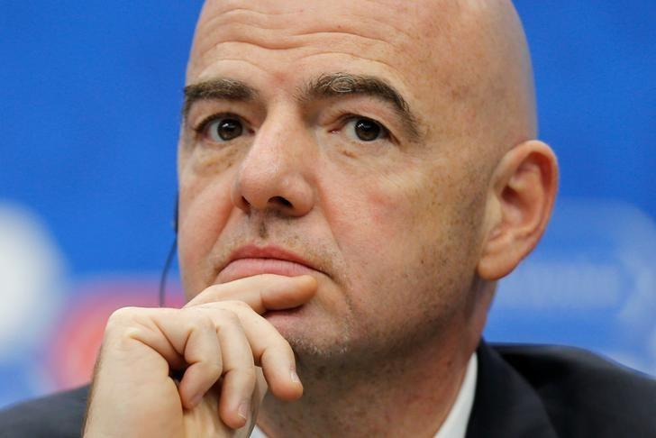 FIFA President Gianni Infantino attends a news conference prior to the Confederations Cup 2017 official draw in Kazan, Russia, November 26, 2016. REUTERS/Maxim Zmeyev