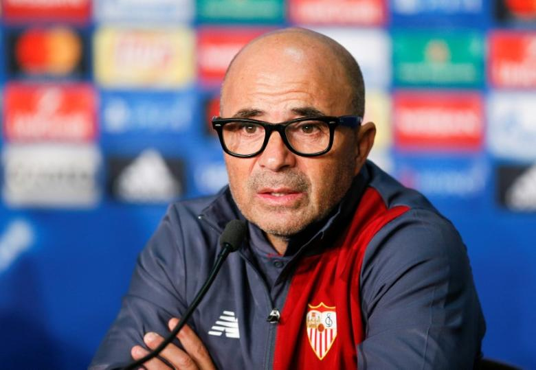 Football Soccer - Olympique Lyon v Sevilla - UEFA Champions League Group Stage - Group H – Stade de Lyon – Decines, France – 6/12/16 Sevilla's coach Jorge Sampaoli attends a media conference  REUTERS/Robert Pratta