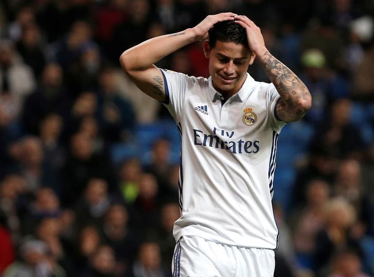Football Soccer - Real Madrid v Deportivo Coruna - Spanish La Liga Santander  -Santiago Bernabeu stadium, Madrid, Spain - 10/12/16 Real Madrid's James Rodriguez reacts during the match.REUTERS/Javier Barbancho