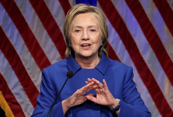 Hillary Clinton speaks to the Children's Defense Fund in Washington. REUTERS/Joshua Roberts
