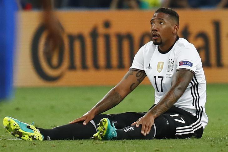 Football Soccer - Germany v France - EURO 2016 - Semi Final - Stade Velodrome, Marseille, France - 7/7/16Germany's Jerome Boateng sustains an injury before being substituted REUTERS/Kai PfaffenbachLivepic/Files