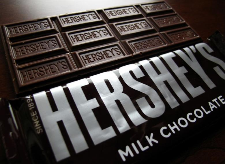 Hershey's chocolate bars are shown in this photo illustration in Encinitas, California January 29, 2015.   REUTERS/Mike Blake/File Photo