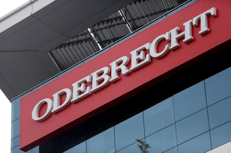 FILE PHOTO - A sign of the Odebrecht SA construction conglomerate is pictured in Lima, Peru, June 28, 2016. REUTERS/Janine Costa/File Picture