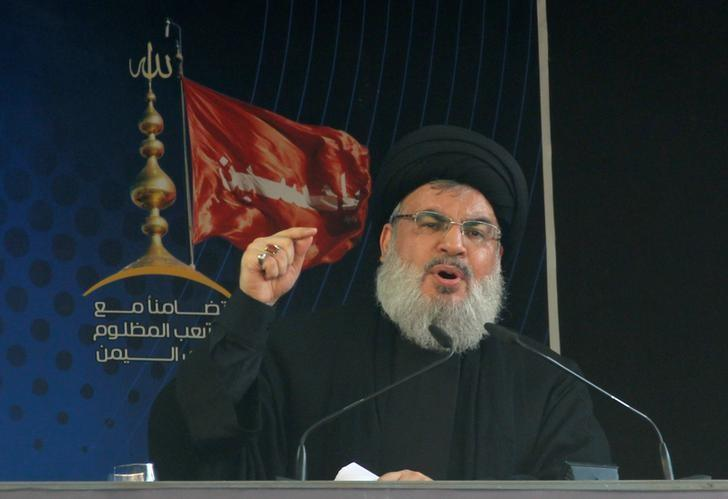 Lebanon's Hezbollah leader Sayyed Hassan Nasrallah addresses his supporters during a public appearance at a religious procession to mark Ashura in Beirut's southern suburbs, Lebanon October 12, 2016. REUTERS/Aziz Taher/Files