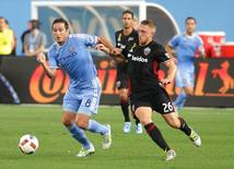 Sep 1, 2016; New York, NY, USA; NYCFC midfielder Frank Lampard (8) and D.C. United midfielder Rob Vincent (26) pursue a loose ball during the first half at Yankee Stadium. NYCFC won 3-2. Mandatory Credit: Andy Marlin-USA TODAY Sports  / Reuters  Picture Supplied by Action Images
