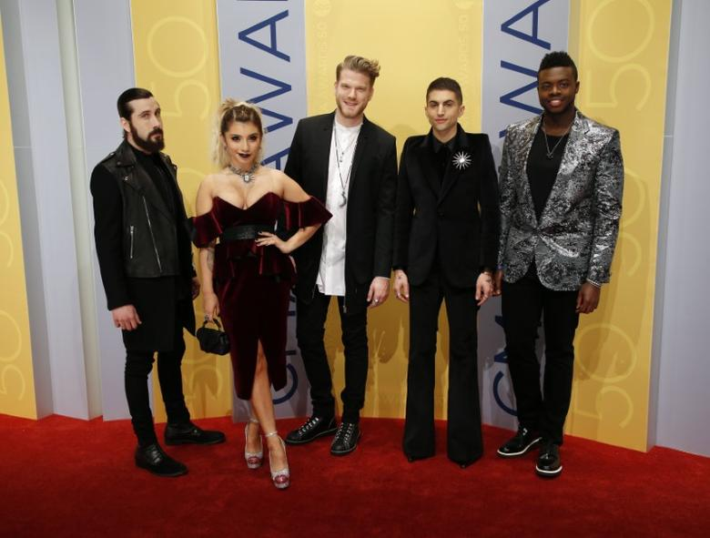 Pop group Pentatonix arrives at the 50th Annual Country Music Association Awards in Nashville, Tennessee, U.S., November 2, 2016. REUTERS/Jamie Gilliam