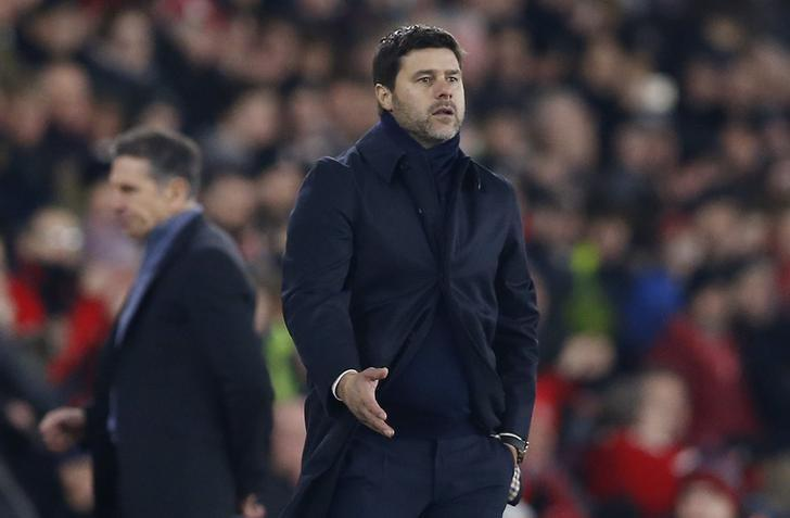 Britain Soccer Football - Southampton v Tottenham Hotspur - Premier League - St Mary's Stadium - 28/12/16 Tottenham manager Mauricio Pochettino and Southampton manager Claude Puel  Action Images via Reuters / Matthew Childs Livepic