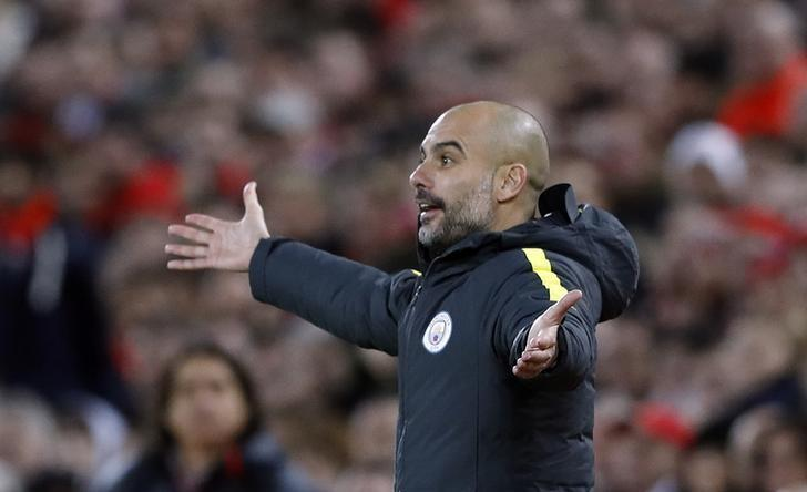 Britain Football Soccer - Liverpool v Manchester City - Premier League - Anfield - 31/12/16 Manchester City manager Pep Guardiola   Action Images via Reuters / Carl Recine Livepic