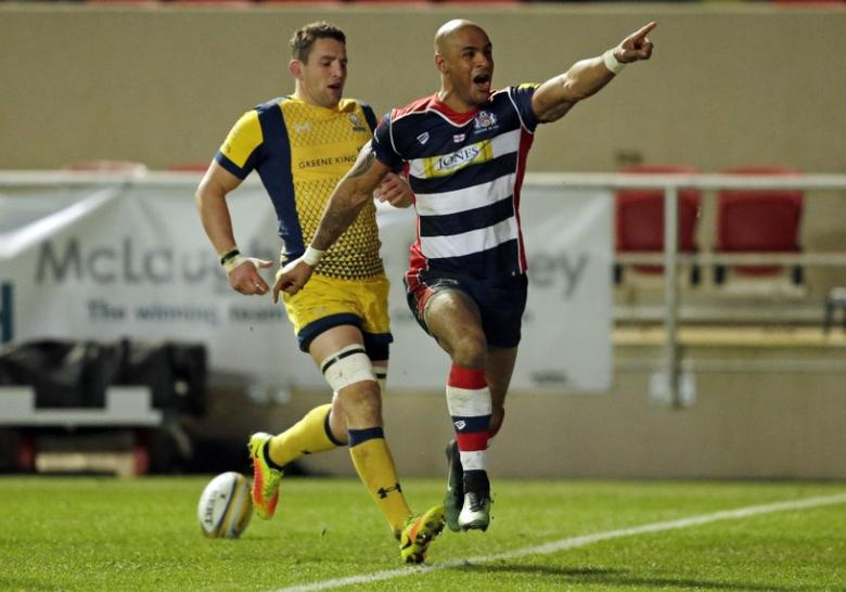 Bristol Rugby v Worcester Warriors - Aviva Premiership - Ashton Gate - 26/12/16 Tom Varndell of Bristol Rugby celebrates after scoring his third try Mandatory Credit: Action Images / Henry Browne Livepic