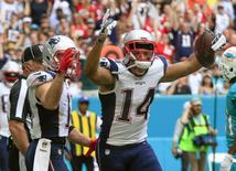 Jan 1, 2017; Miami Gardens, FL, USA;  New England Patriots wide receiver Michael Floyd (14) celebrates a touchdown during the second quarter of an NFL football game against the Miami Dolphins at Hard Rock Stadium. Mandatory Credit: Reinhold Matay-USA TODAY Sports