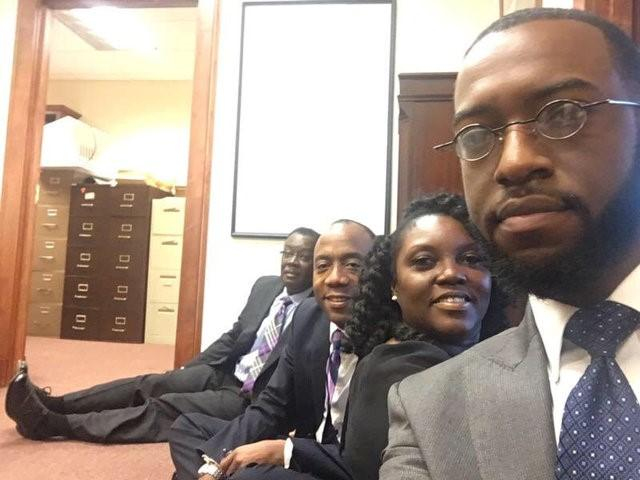 Benard Simelton (L), president of the Alabama NAACP State Conference, Cornell William Brooks (2nd L), president & CEO of the National Association for the Advancement of Colored People (NAACP), and Devon Crawford (R), a fellow with with the NAACP Youth & College Division, occupy the office of Jeff Sessions, U.S. President-elect Donald Trump's pick for for attorney general, in Mobile, Alabama, January 3, 2017. Daniel Valentine/via Reuters