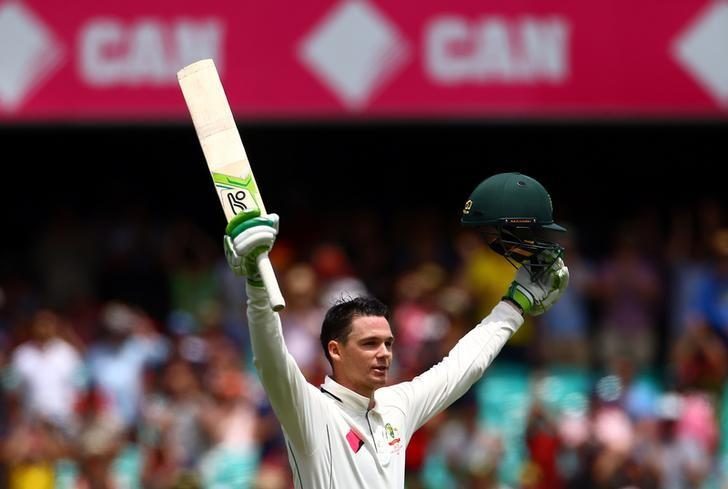 Cricket - Australia v Pakistan - Third Test cricket match - Sydney Cricket Ground, Sydney, Australia - 4/1/17 Australia's Peter Handscomb celebrates after reaching his century.   REUTERS/David Gray