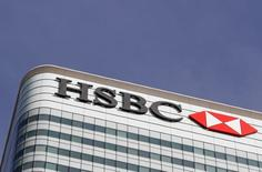 The HSBC bank logo is seen at their offices in the Canary Wharf financial district in London, Britain, March 3, 2016.  REUTERS/Reinhard Krause/File Photo