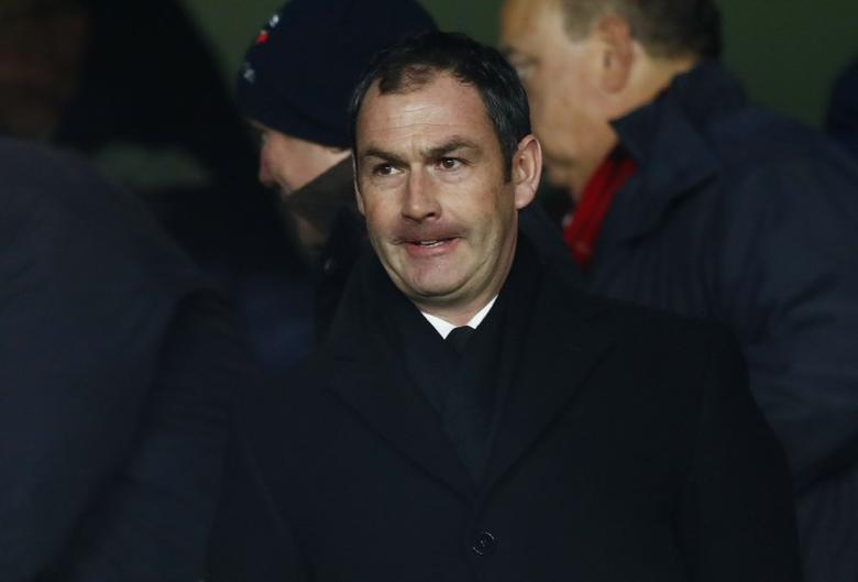New Swansea manager Paul Clement in the stands before the match  Reuters / Eddie Keogh