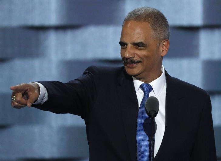Former U.S. Attorney General Eric Holder speaks during the second day at the Democratic National Convention in Philadelphia, Pennsylvania, U.S. July 26, 2016. REUTERS/Mike Segar/File Photo