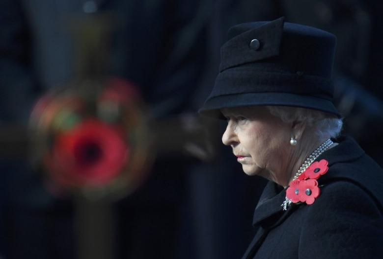 FILE  PHOTO : Britain's Queen Elizabeth takes part in the Remembrance Sunday ceremony at the Cenotaph in Westminster, central London, Britain November 13, 2016. REUTERS/Toby Melville/File Photo