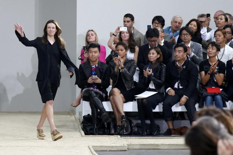 FILE PHOTO British-born designer Clare Waight Keller appears September 29, 2013 on the runway after presenting her Spring/Summer 2014 women's ready-to-wear collection for French fashion house Chloe during Fashion Week in Paris, France.   Picture taken September 29, 2013.      REUTERS/Benoit Tessier/File Photo