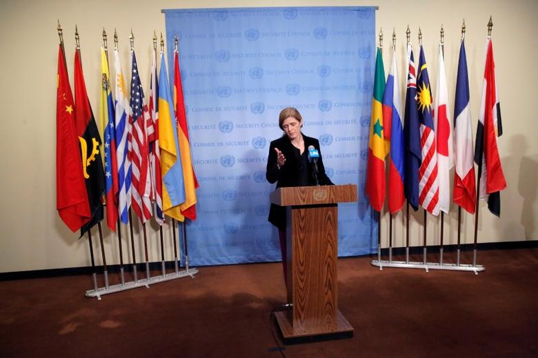 United States Ambassador to the United Nations Samantha Power addresses media at the United Nations in Manhattan, New York City, U.S., December 19, 2016. REUTERS/Andrew Kelly