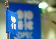 Imagen de archivo de una bandera con el logo de la OPEP en una conferencia en Viena, Austria. 24 octubre 2016. La producción de crudo de la OPEP en diciembre bajó desde máximos históricos antes de la implementación de un acuerdo para reducir los suministros, mostró el jueves un sondeo de Reuters, luego de ataques a la industria petrolera de Nigeria y de que Arabia Saudita disminuyera sus exportaciones. REUTERS/Leonhard Foeger