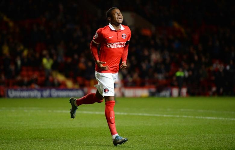 Charlton's Ademola Lookman celebrates scoring their second goal Mandatory Credit: Action Images / Tony O'Brien