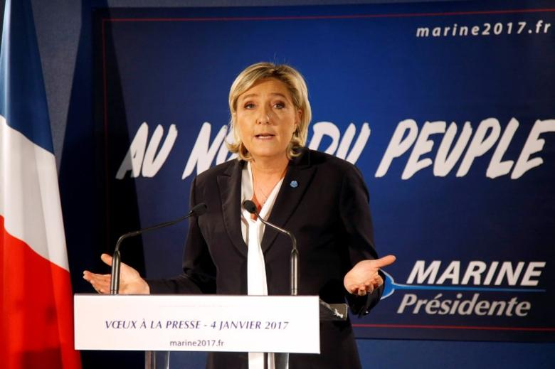 Marine Le Pen, French far-right National Front (FN) party president, member of European Parliament and candidate for French 2017 presidential election, speaks during a New Year wishes ceremony to the media in Paris, France, January 4, 2017. REUTERS/Charles Platiau/File Photo