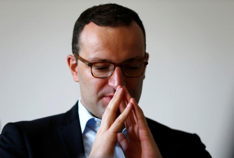 German Deputy Finance Minister Jens Spahn gestures during an interview with Reuters in Berlin, Germany October 4, 2016.    REUTERS/Joachim Herrmann - RTSQOGA