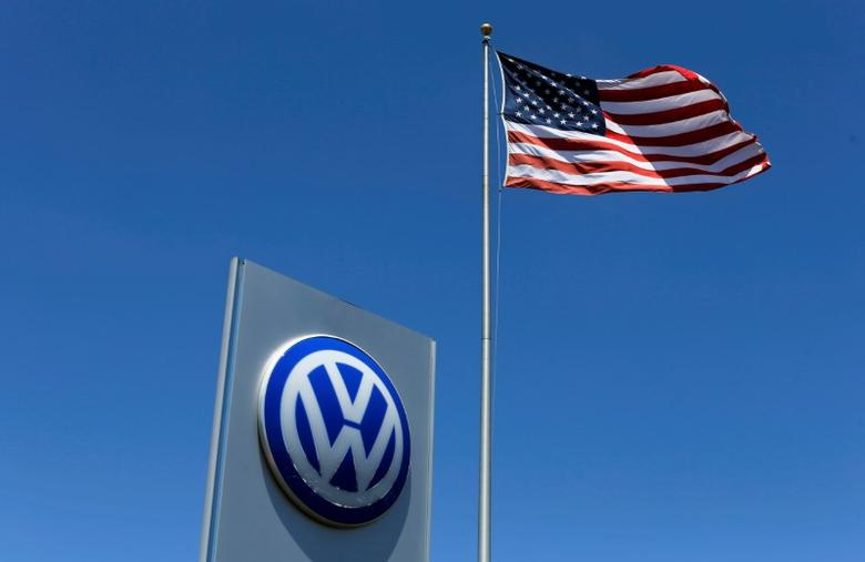 A U.S. flag flutters in the wind above a Volkswagen dealership in Carlsbad, California, U.S. May 2, 2016.  REUTERS/Mike Blake