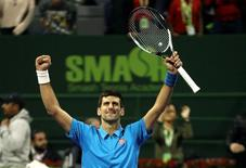 Tennis - Qatar Open - Men's singles semi-finals - Fernando Verdasco of Spain v Novak Djokovic of Serbia - Doha, Qatar - 6/1/2017 - Djokovic celebrates after winning. REUTERS/Ibraheem Al Omari
