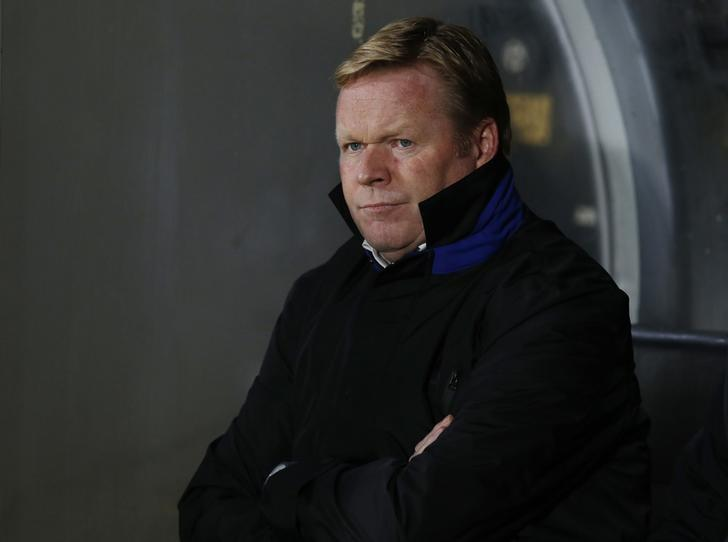 Everton manager Ronald Koeman before the match.  Reuters / Andrew Yates