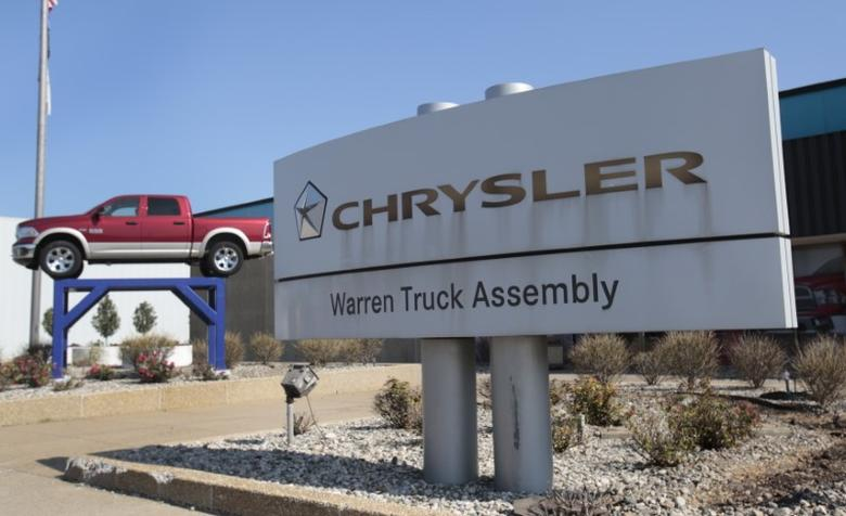 A Chrysler Warren Truck Assembly sign is seen in front of the Fiat Chrysler Automobiles (FCA) plant in Warren, Michigan October 7, 2015. REUTERS/Rebecca Cook