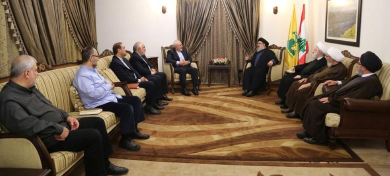 Lebanon's Hezbollah leader Sayyed Hassan Nasrallah  meets with Iran's Foreign Minister Mohammad Javad Zarif in this handout picture released by Hezbollah Media office, November 8, 2016. Hezbollah Media Office/Handout via REUTERS/Files