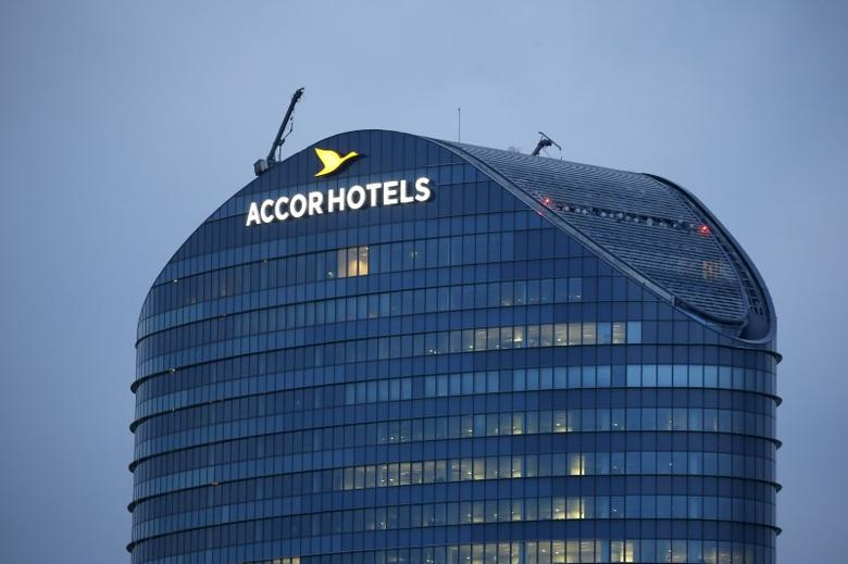 The logo of French hotel operator AccorHotels is seen on top of the company's headquarters in Issy-les-Moulineaux near Paris, France April 22, 2016. REUTERS/Gonzalo Fuentes/File Photo