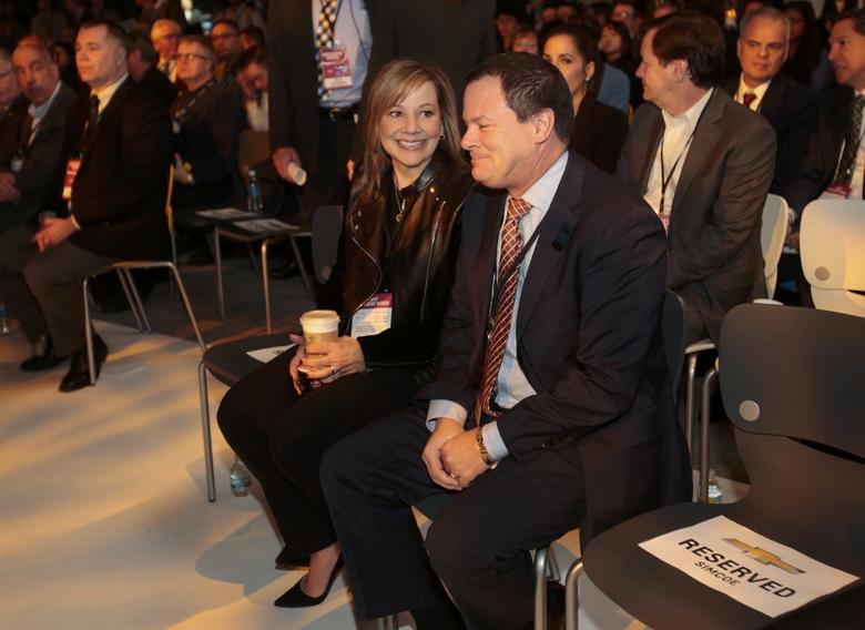 Mary Barra, CEO and Chairperson of GM, sits with Tony Cervone (R), Senior VP, Global Communications during the presentation of the 2018 Chevrolet Traverse at the North American International Auto Show in Detroit, Michigan, U.S., January 9, 2017.  REUTERS/Rebecca Cook