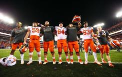 Jan 9, 2017; Tampa, FL, USA; The Clemson Tigers celebrates after beating the Alabama Crimson Tide in the 2017 College Football Playoff National Championship Game at Raymond James Stadium. Mandatory Credit: Mark J. Rebilas-USA TODAY Sports