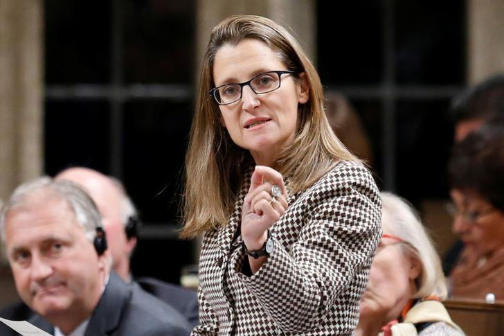 Canada's International Trade Minister Chrystia Freeland speaks during Question Period in the House of Commons on Parliament Hill in Ottawa, Ontario, Canada, October 25, 2016. REUTERS/Chris Wattie