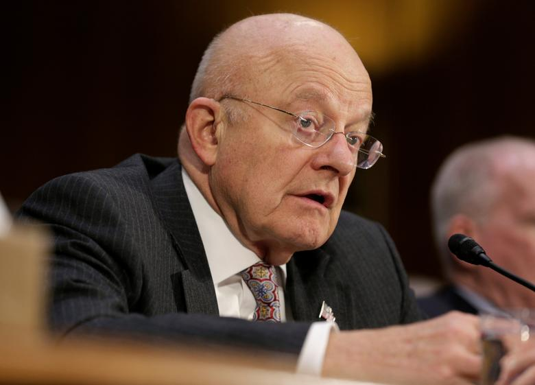 """Director of National Intelligence (DNI) James Clapper testifies to the Senate Select Committee on Intelligence hearing on """"Russia's intelligence activities'' on Capitol Hill in Washington, U.S. January 10, 2017. REUTERS/Joshua Roberts"""