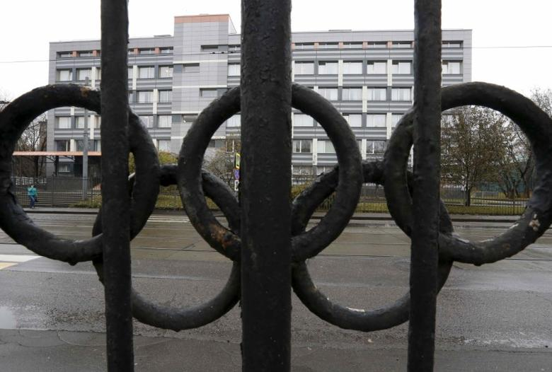 A view through a fence, decorated with the Olympic rings, shows a building of the federal state budgetary institution ''Federal scientific centre of physical culture and sports'', which houses a laboratory accredited by the World Anti-Doping Agency (WADA), in Moscow, Russia on November 11, 2015.   REUTERS/Sergei Karpukhin