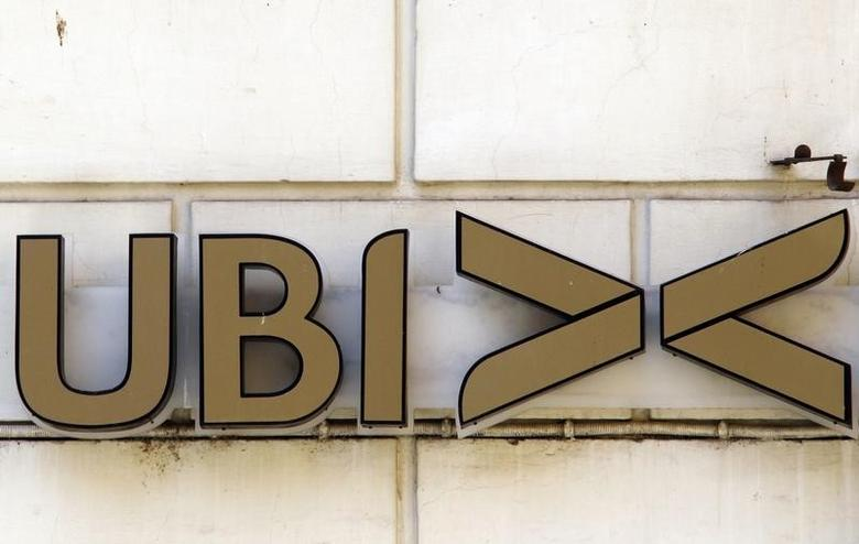 A logo of UBI bank (Unione di Banche Italiane) is seen in downtown Rome July 23, 2010. REUTERS/Alessandro Bianchi
