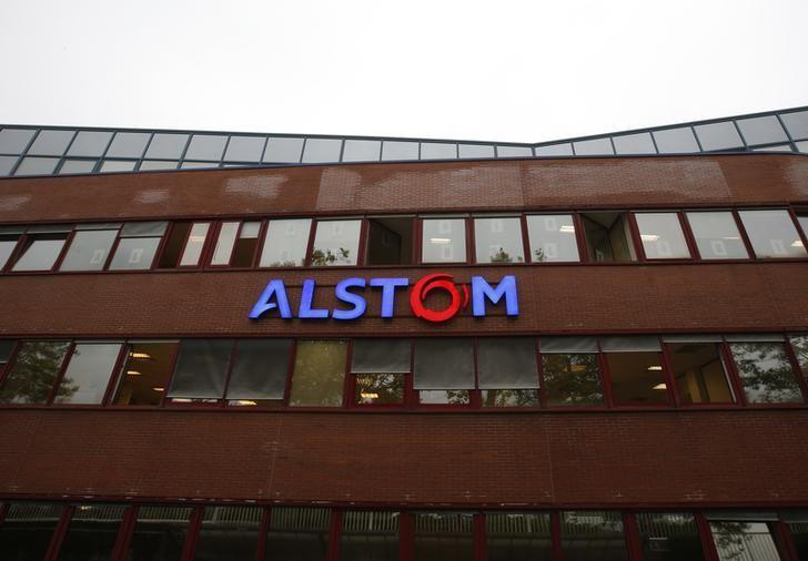 A logo is seen on the facade of the main plant of the French engineering giant Alstom SA in Belfort, France, September 15, 2016. REUTERS/Jacky Naegelen