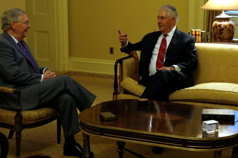 U.S. Senate Majority Leader Mitch McConnell (R-KY) (L) meets with Rex Tillerson (R), U.S. President-elect Donald Trump's pick to be Secretary of State, at the U.S. Capitol on Washington, U.S. January 4, 2017. REUTERS/Jonathan Ernst