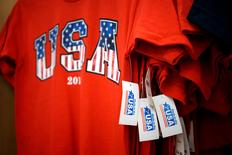 File Photo: T-shirts made in the USA are for sale at the Walmart Supercenter in Bentonville, Arkansas June 5, 2014. REUTERS/Rick Wilking/File Photo