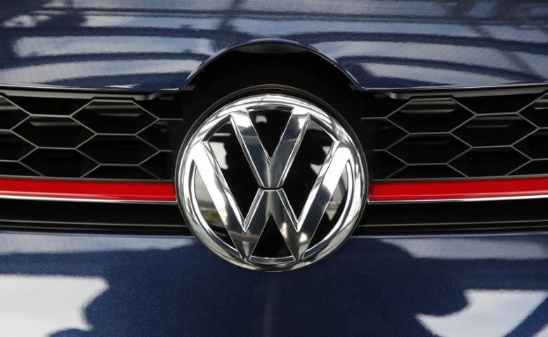 A VW emblem is pictured on a Volkswagen car in a delivery tower at the plant of German carmaker in Wolfsburg, Germany, April 28, 2016.    REUTERS/Fabrizio Bensch