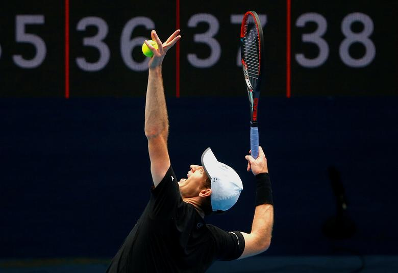 Britain's Andy Murray serves during a training session on Rod Laver Arena ahead of the Australian Open tennis tournament in Melbourne, Australia, January 11, 2017.       REUTERS/David Gray