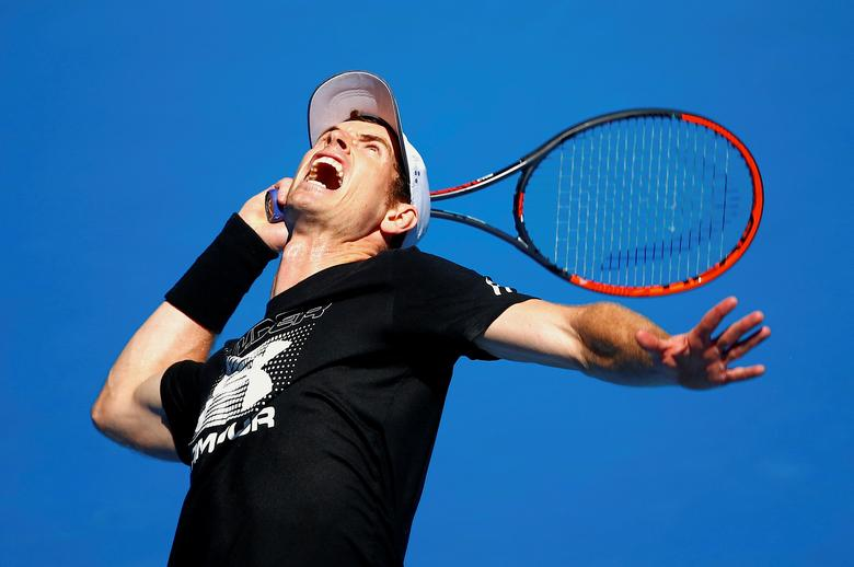 Britain's Andy Murray serves during a training session ahead of the Australian Open tennis tournament in Melbourne, Australia, January 12, 2017.       REUTERS/David Gray