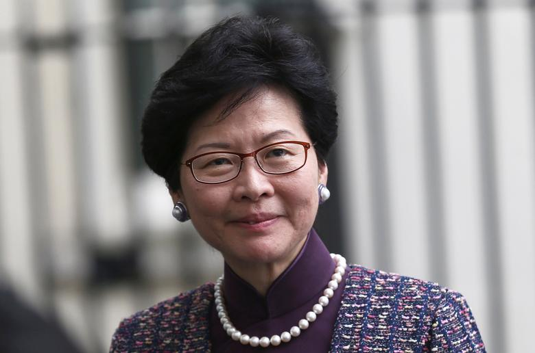 FILE PHOTO - Hong Kong's Chief Secretary for Administration, Carrie Lam, leaves after meeting with Britain's Chancellor of the Exchequer, Philip Hammond, at number 11 Downing Street in London, Britain September 26, 2016. REUTERS/Neil Hall/File Photo