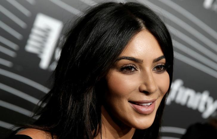 Kim Kardashian West participates in a television interview as she arrives for the 20th Annual Webby Awards in Manhattan, New York, U.S., May 16, 2016. REUTERS/Mike Segar/File Photo